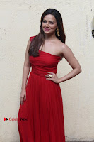 Actress Sana Khan Latest Pos in Georgius Spicy Red Long Dress at the Interview  0004.jpg