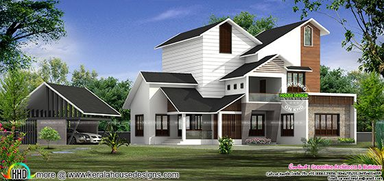Modern mix sloped roof house plan kerala home design and for Sloped roof house plans in india