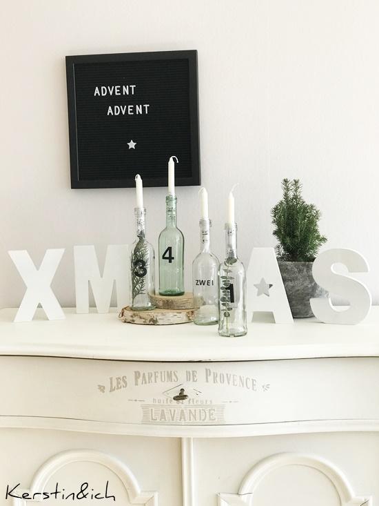 DIY Flaschenadventskranz Weihnachten Deko Adventskranz Advent Flaschen Wohnen