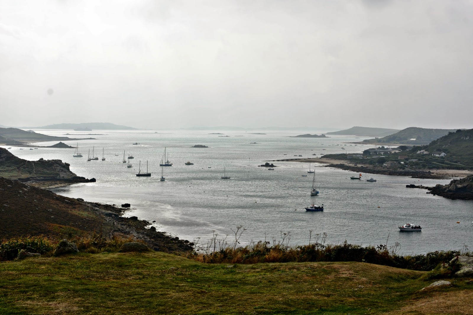 View of the sound from King Charles Castle Tresco Isles of Scilly