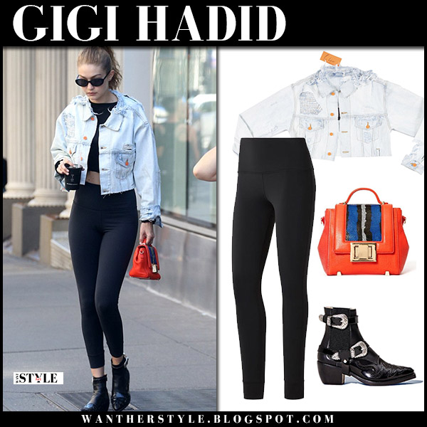 Gigi Hadid in denim cropped jacket, black leggings and black boots model street fashion july 19