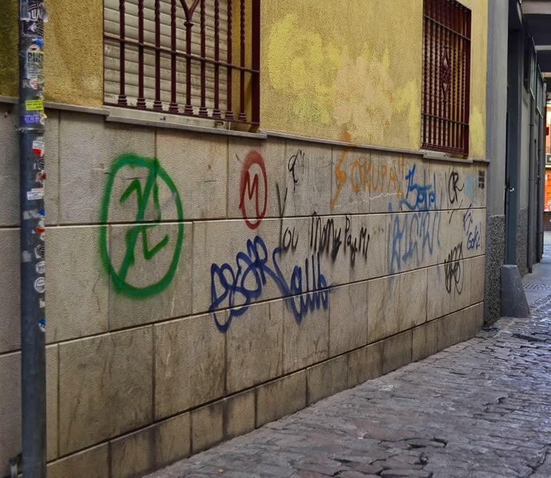 Ubiquitous graffiti in Granada, Andalucia, Spain