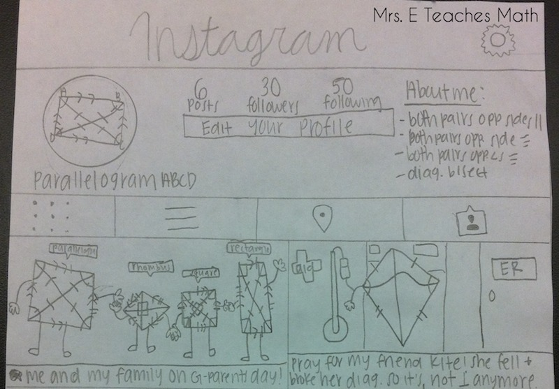 awesome quadrilateral project - students created a social media page for a quadrilateral