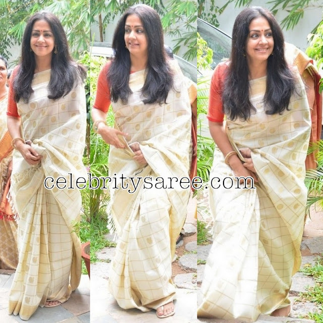 Jyothika in Off White Heirloom Saree