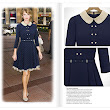 England Style double-breasted Navy Blue Dress