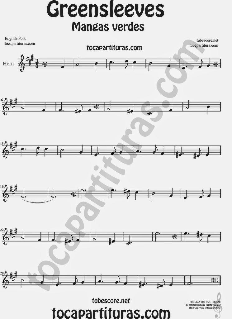 Greensleeves Partitura de Trompa y Corno Francés en Mi bemol Mangas Verdes o ¿Qué niño es este? Sheet Music for French Horn Music Scores Carol Song What child is this?