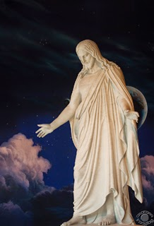 Cramer Imaging's professional quality fine art photograph of Christus statue with clouds and universe background in Temple Square, Salt Lake City, Utah