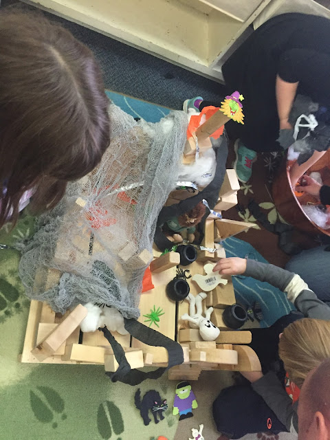 adding haunted house props to your block center for your kindergarten halloween party