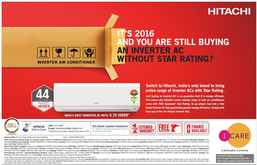 Hitachi Inverter AC with star rating | April 2016 discount offer | Festival offers