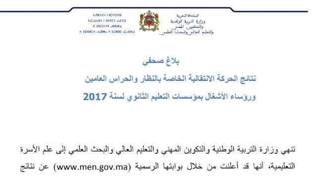نتائج الحركة الانتقالية الخاصة بالنظار والحراس العامين ورؤساء الأشغال- 12 يوليوز 2017