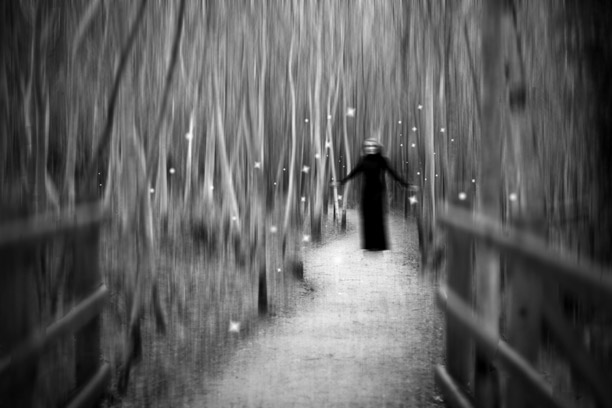 Blurry black and white scary pic of a female sorcerer type figure in the woods with floating white balls of light