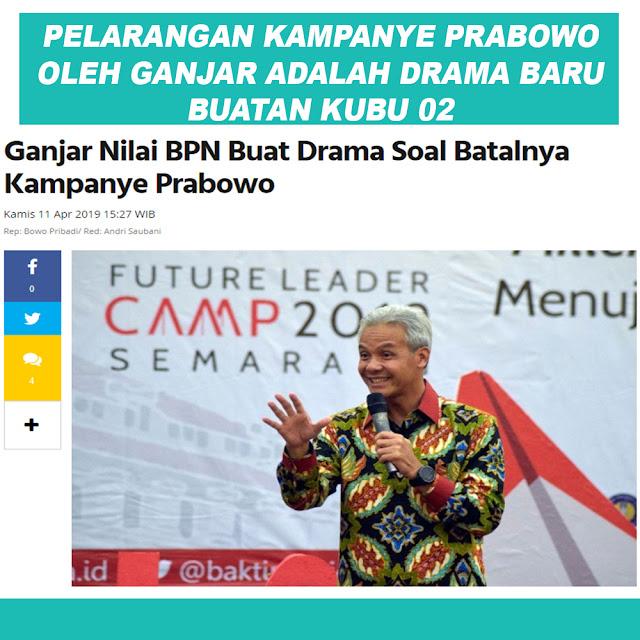 Ganjar Nilai BPN Buat Drama Soal Batalnya Kampanye Prabowo