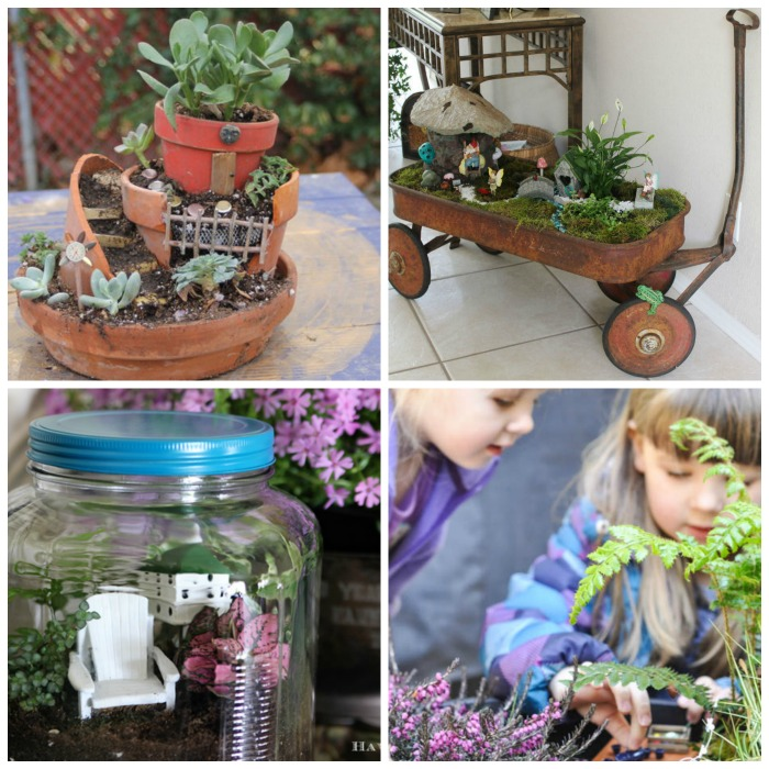 15 magical fairy gardens for kids including one kids can actually get INSIDE.  I love the wagon turned fairy garden, too!