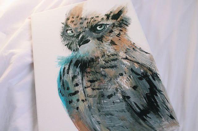 watercolour owl painting