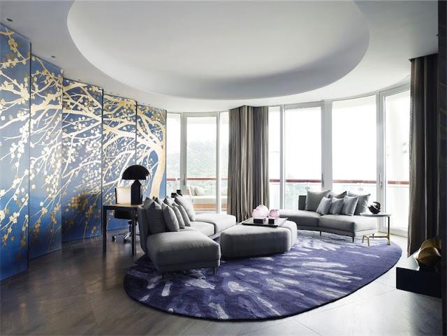 paneles japoneses en azul y oro chicanddeco