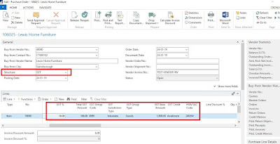 Purchase Order Page with dynamics NAV changes for GST