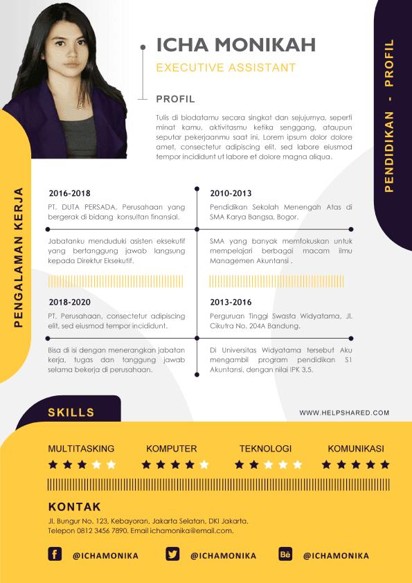 Contoh CV Lamaran Kerja Kekinian Curriculum Vitae