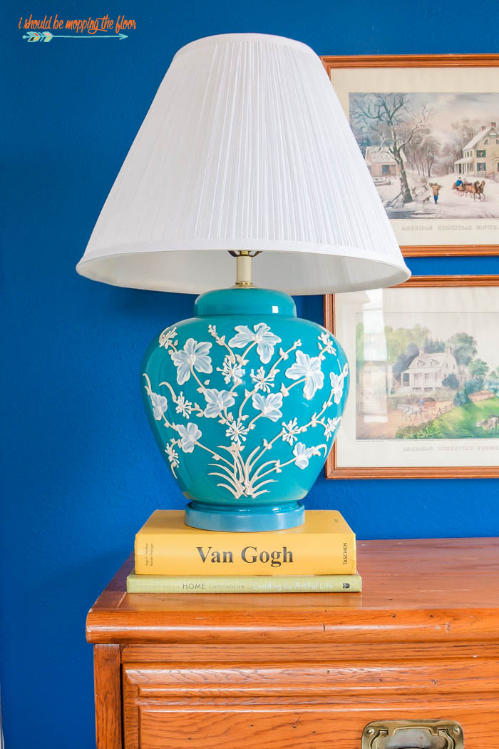 Antique Aqua Floral Lamp