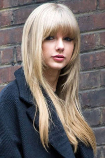 Taylor Swift Long  Hairstyles with Short Bangs