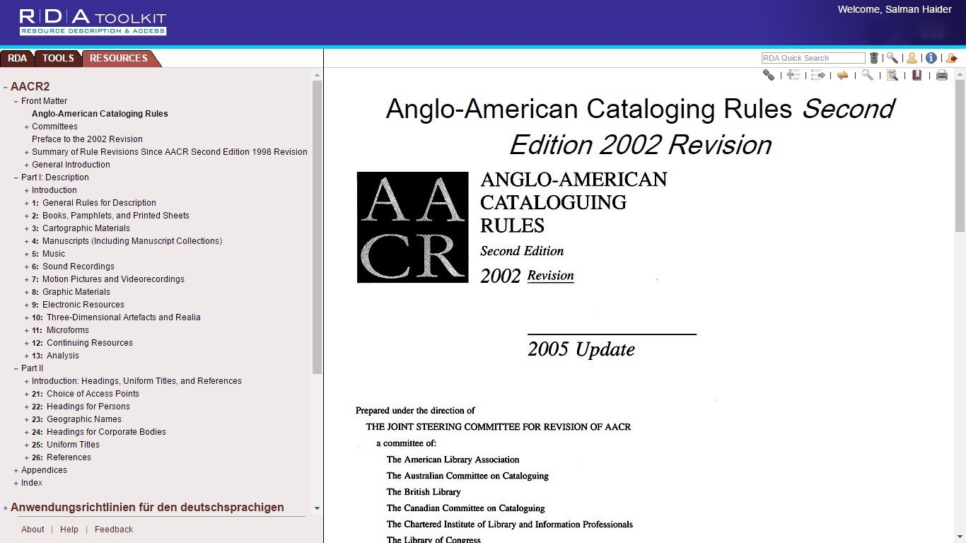 AACR2 in RDA Toolkit