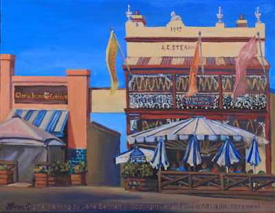 plein air oil painting of the heritage architecture, the A.C.Stearns building,George Street Windsor,(Windsor Seafoods), with the Gloria Jeans coffee shop next door,  painted by artist Jane Bennett