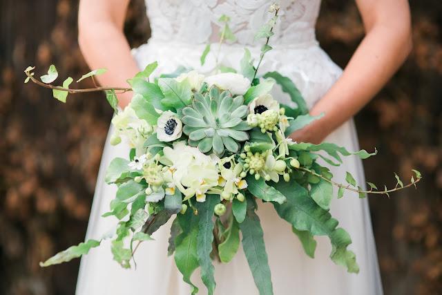 Bukiet ślubny zielono biały