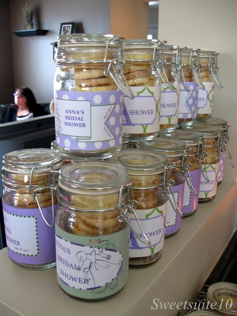 Cookies in a mason jar for a Bridal shower