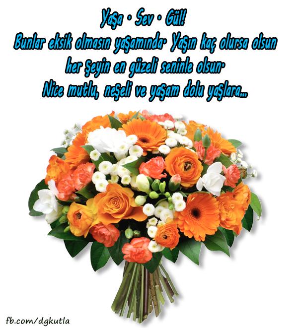 Çiçekli anlamlı mesajlı doğum günü tebrik kartı