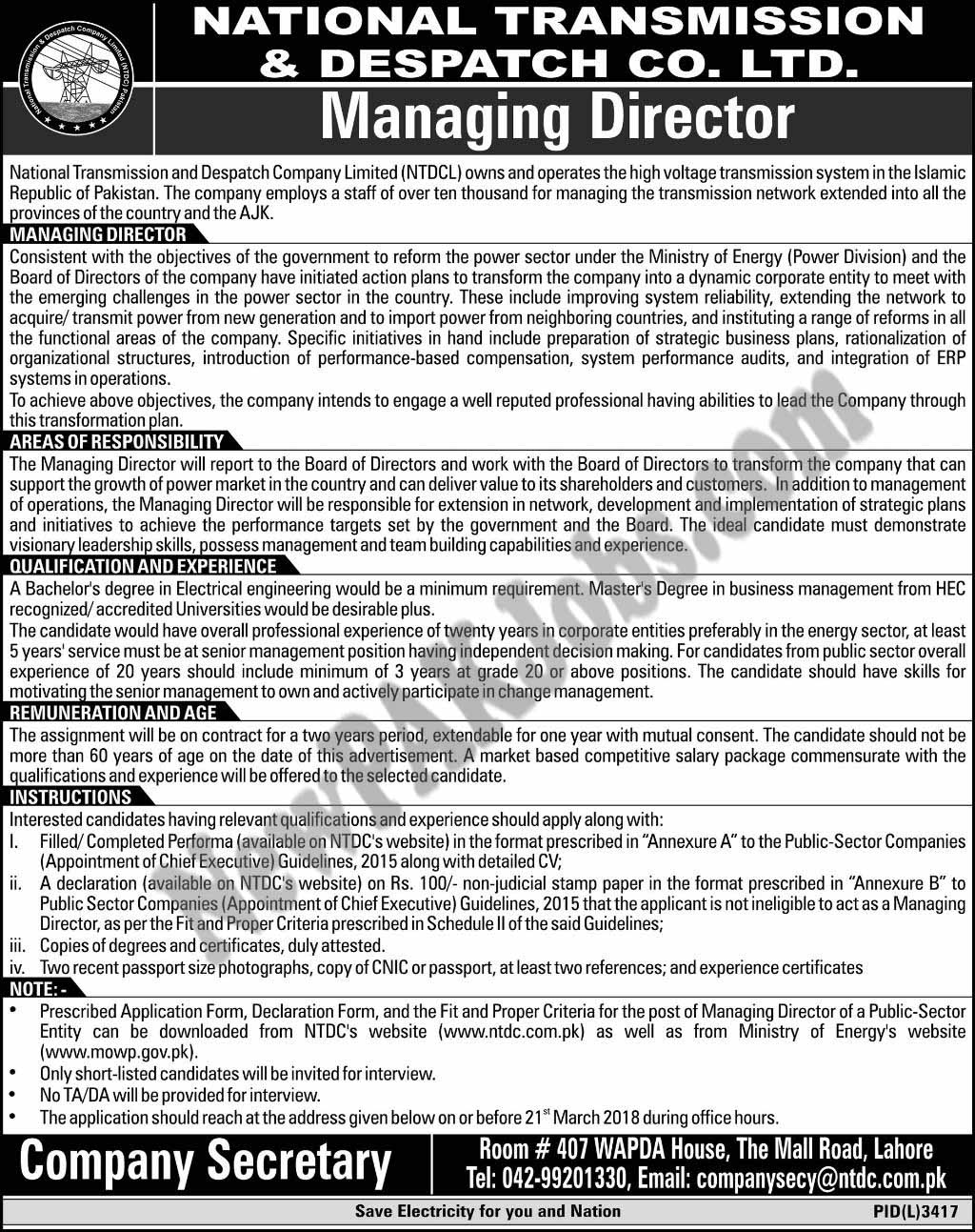 National Transmission and Dispatch Co Latest New Jobs 2018