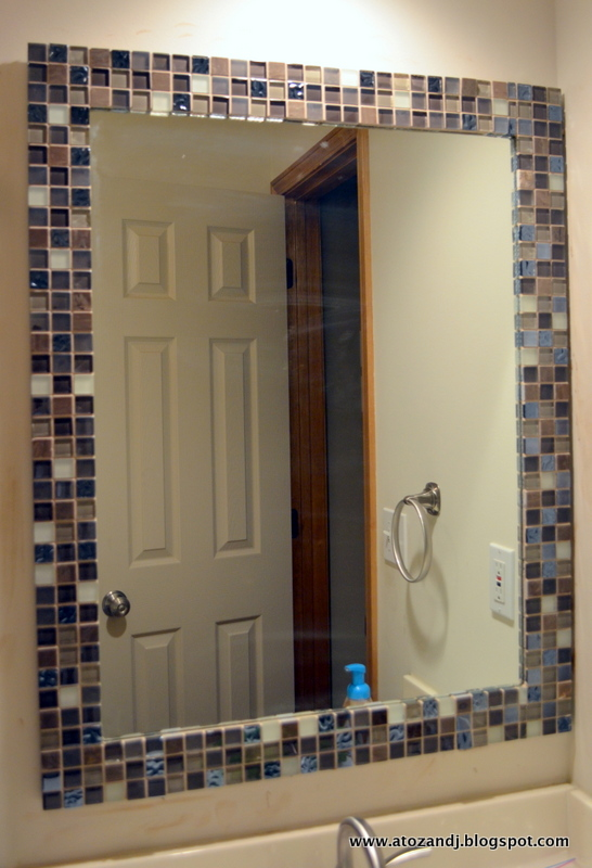 A to z with a little j mirror makeover - Stick on frames for bathroom mirrors ...