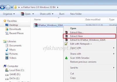 Cara Ekstrak Aplikasi e-Faktur Versi 2.0