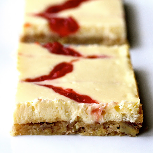 Strawberry Cheesecake Bars with Homemade Fresh Strawberry Jam from Karen's Kitchen Stories