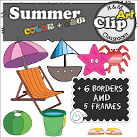 Summer Items, Borders and Frames Clip Art