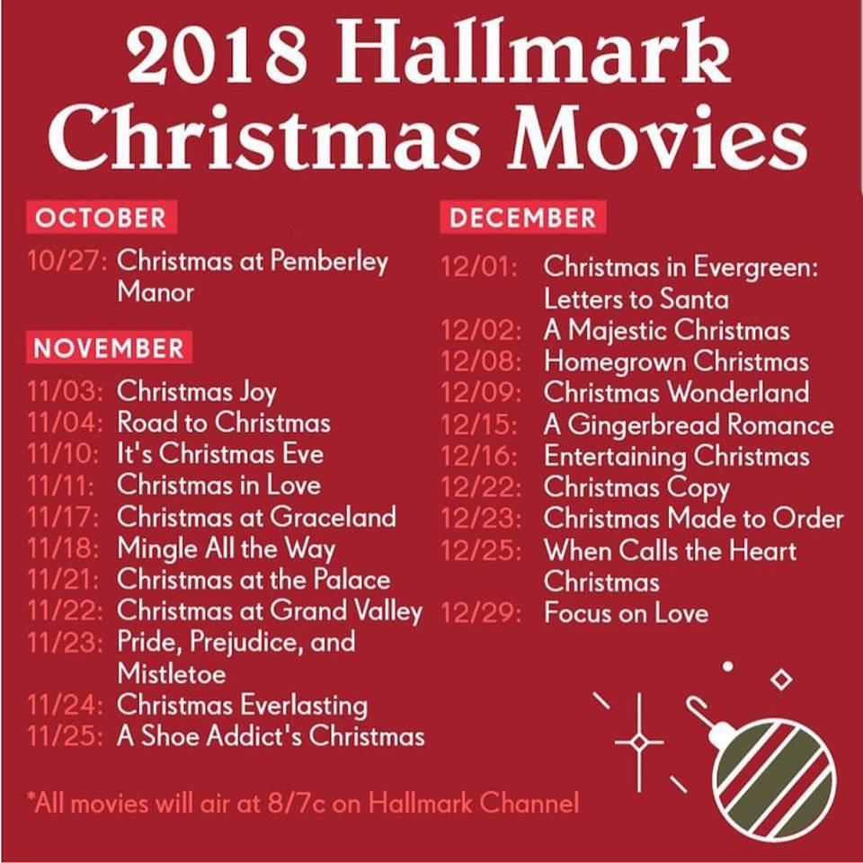 2018 Hallmark Christmas Movies