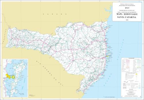 Mapa rodoviário de Santa Catarina