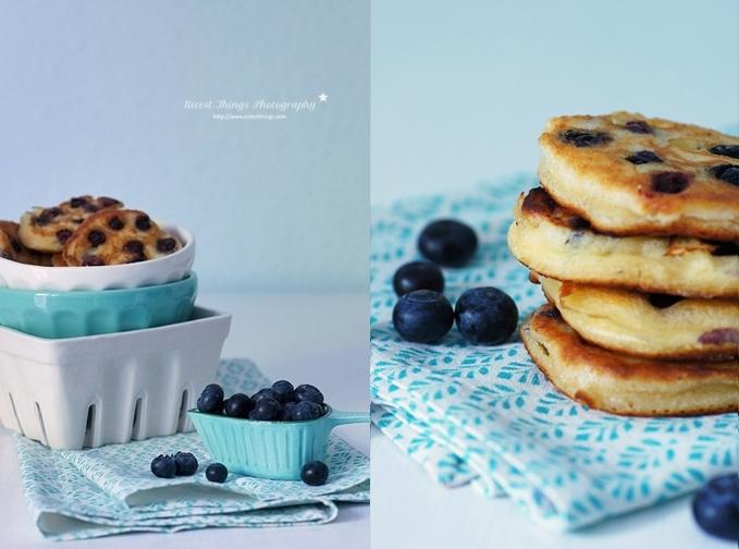 Mini Pfannkuchen mit Blaubeeren und Ricotta