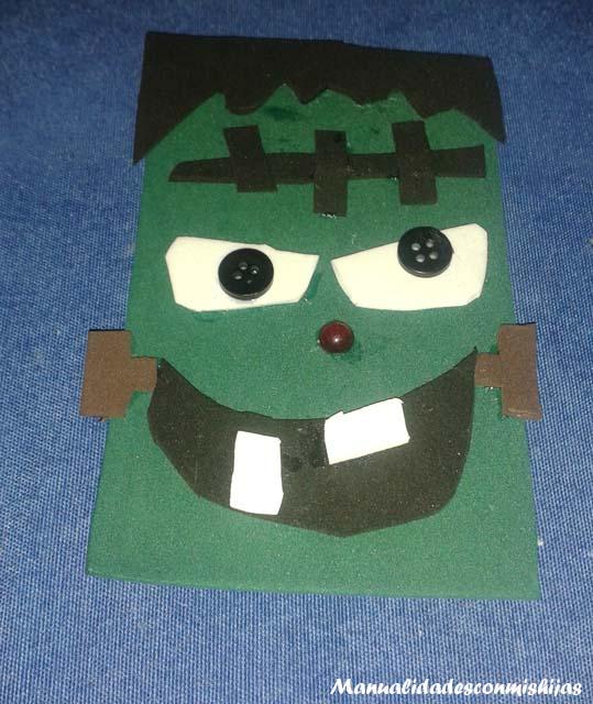 Manualidades infanfiles: Frankenstein en foami para halloween