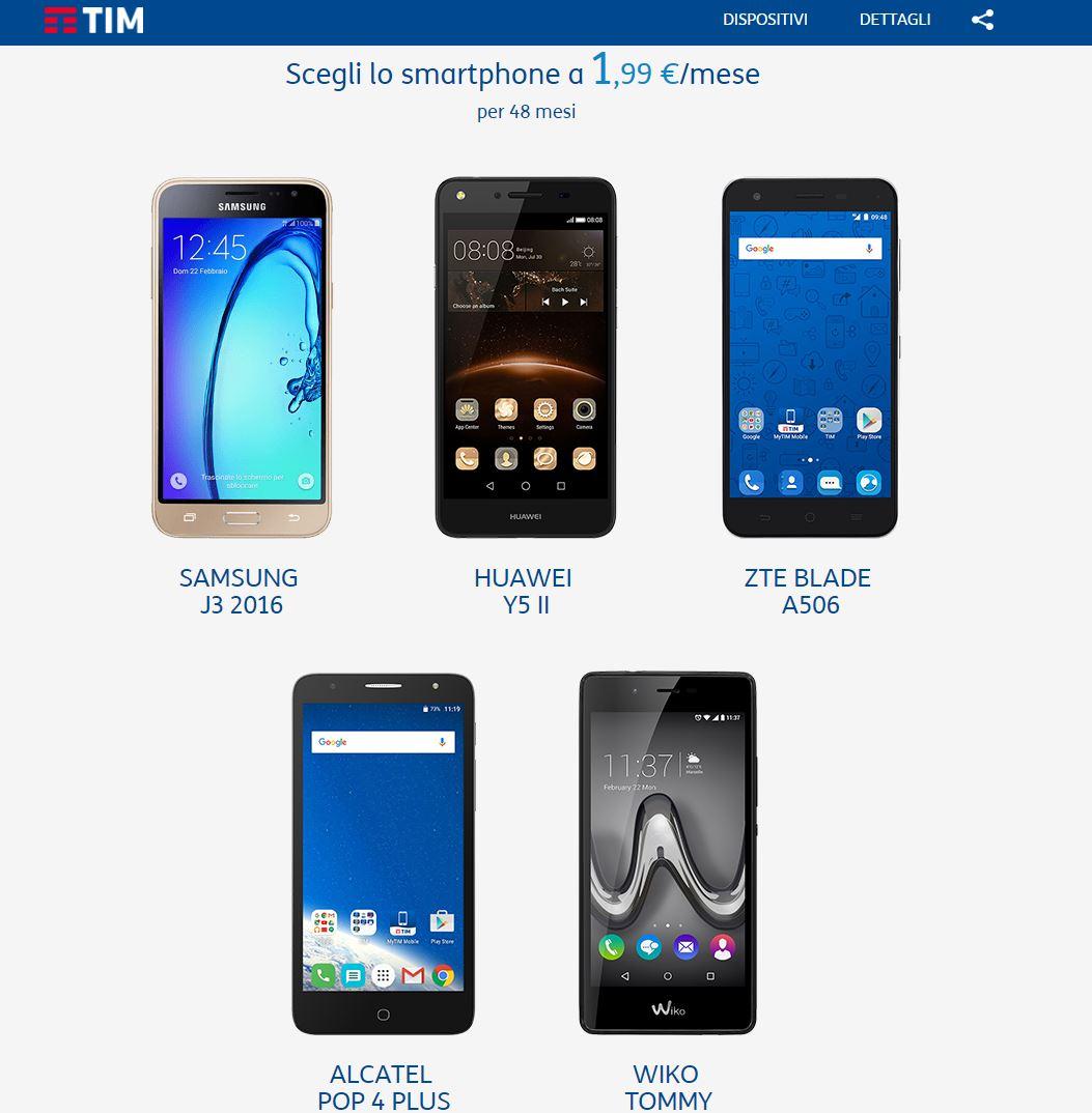 Smartphone a 1,99€ al mese con promo TIM