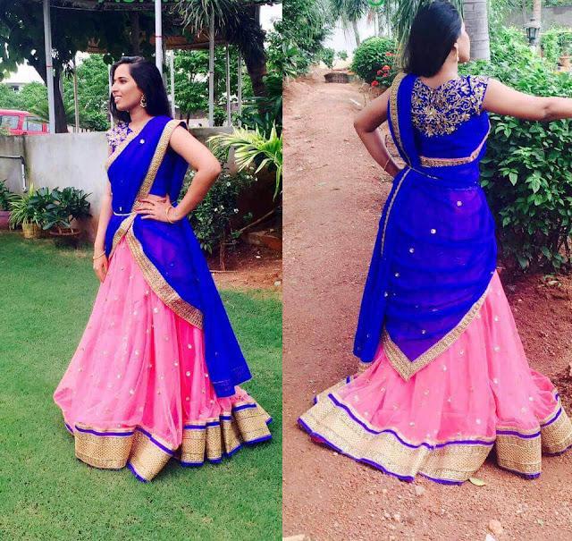 Sravani Reddy Pink Half Saree