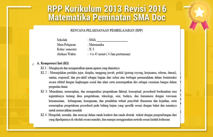 RPP Kurikulum 2013 Revisi 2016 Matematika Peminatan SMA Doc