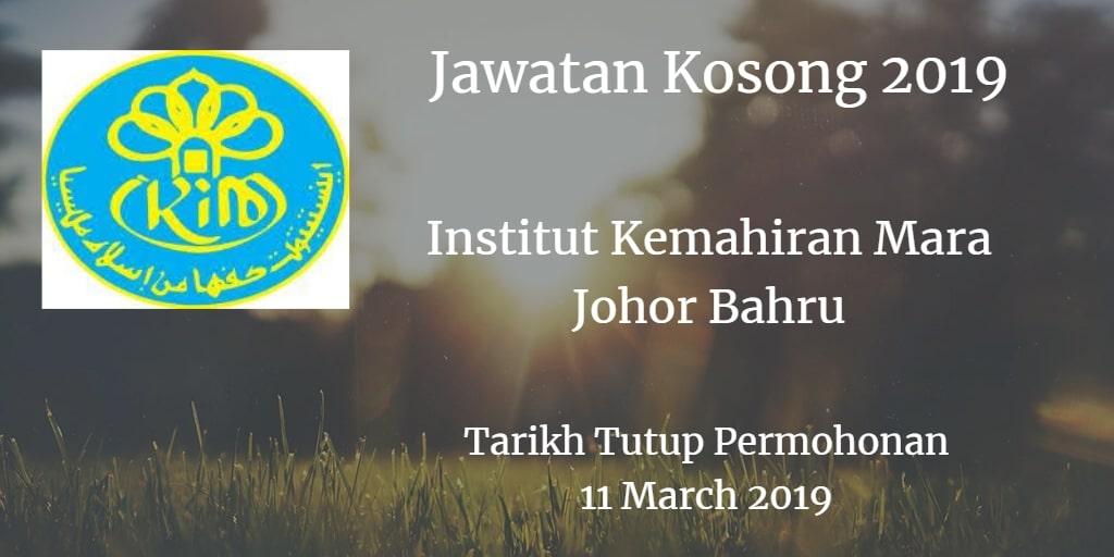 Jawatan Kosong Institut Kemahiran Mara Johor Bahru 11 March 2019