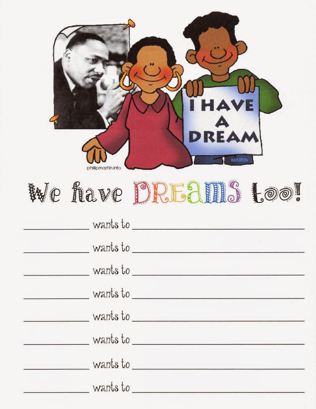 Classroom Freebies Martin Luther King Writing Prompt Poster