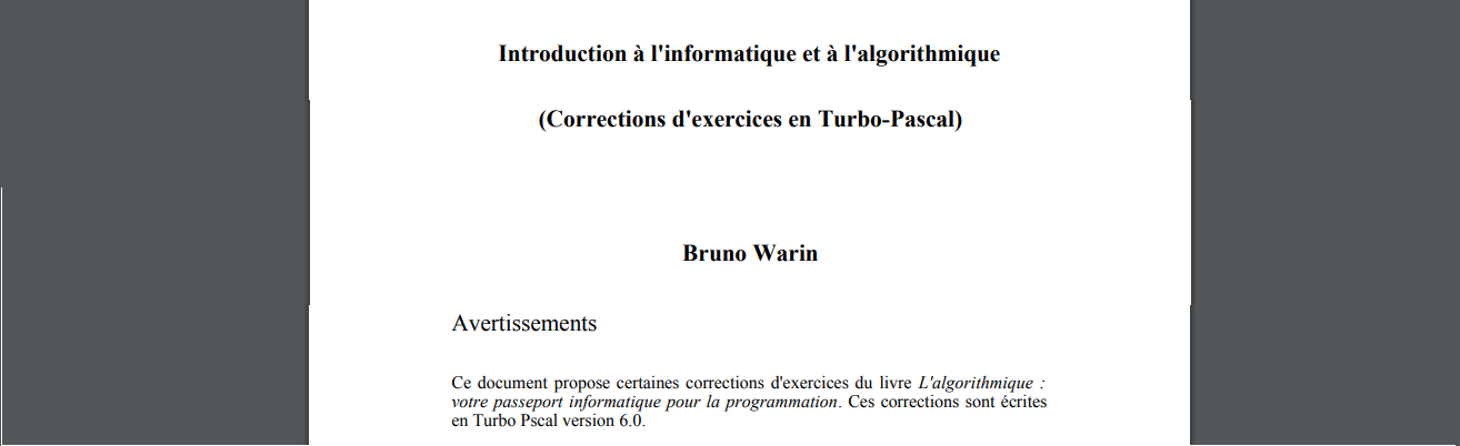 Corrected exercises in programming - PASCAL - french PDF