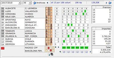 Quiniela , 7 triples reducidos al 13 por 186 columnas