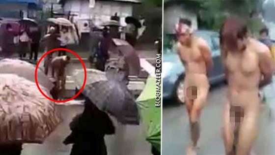 Padah Rogol Gadis, Dua Lelaki Diarak Dalam Keadaan Bertelanjang Bulat