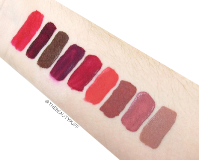 milani amore matte lip creme swatches - the beauty puff