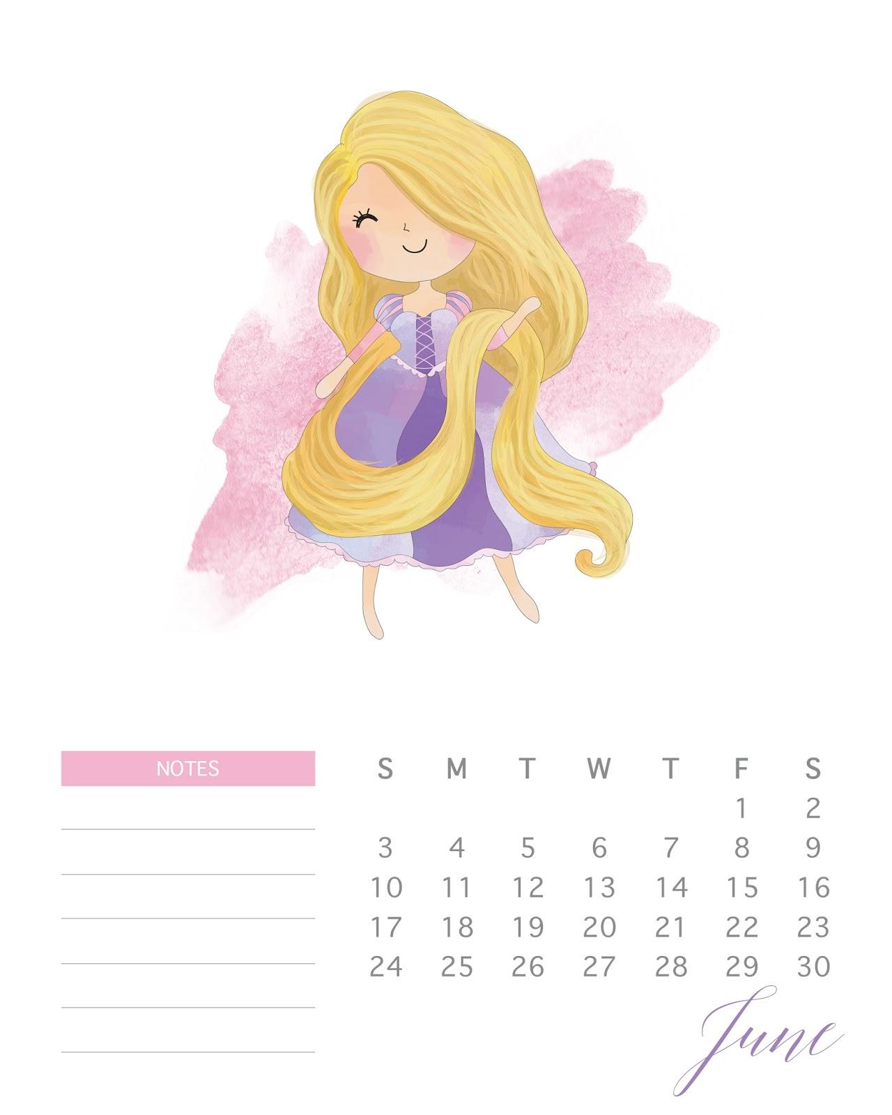 Anime July 2019: Calendario 2018 De Las Princesas Disney Para Imprimir