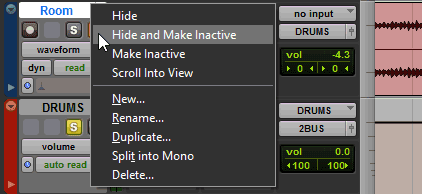 Hide and make a track inactive in Pro Tools.