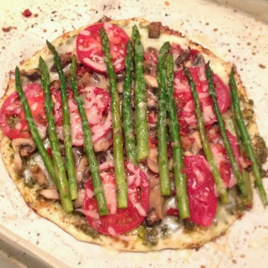Asparagus, Mushroom, Pesto topped Cauliflower Crust Pizza