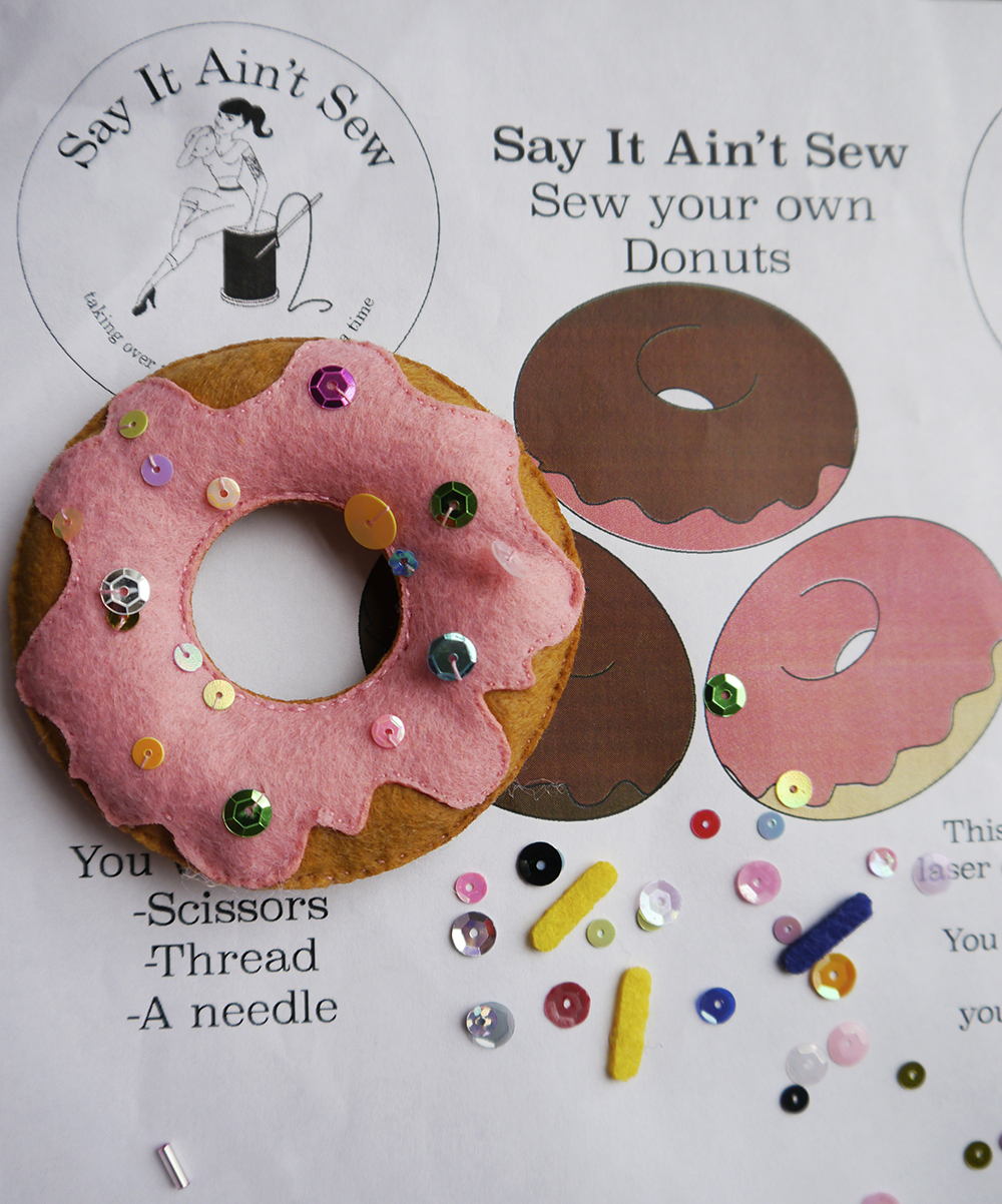 Say It Ain't Sew, sewing kit, crafting, Glasgow tenament sewing kit, Say it ain't Sew Dundee, Iona Barker, Donut sewing kit, sequins